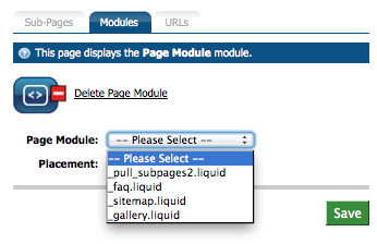 Page Module Dropdown